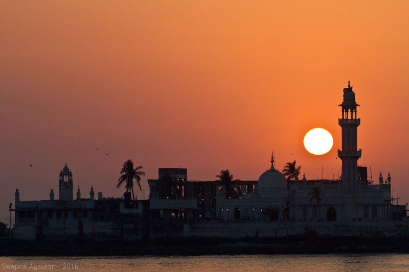 Haji Ali silhouette at Sunset