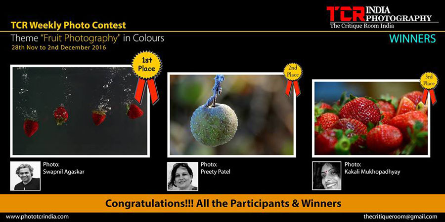 First Prize recognition on TCR - Theme 'Fruit Photography'